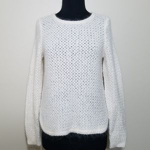 Ann Taylor Crew Sweater Fuzzy Cream Texture Knit S